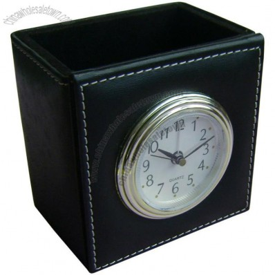 Leather Desk Pen Holder Alarm Clock