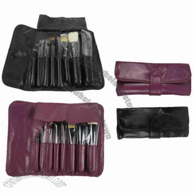 Leather Makeup Case Set With Multi-Tools In 1