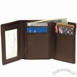 Leather Men's Tri-Fold Wallet with Double ID Window