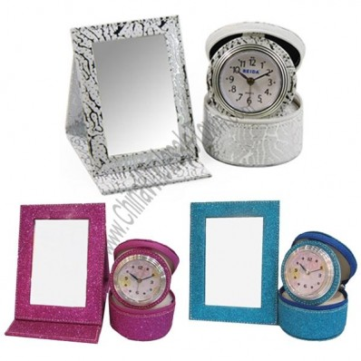 Leather Mirror With Alarm Clock