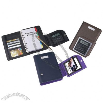 Leather Notebook Calculator with Picture Frame and Card Holder