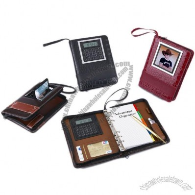Leather Notebook Calculator with Time and Temperature Display