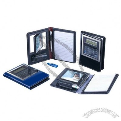 Leather Notebook with Calculator Photo Frame Calendar and Metal Pen