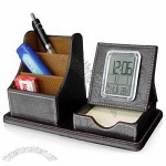 Leather Pen Holder With Calendar Clock