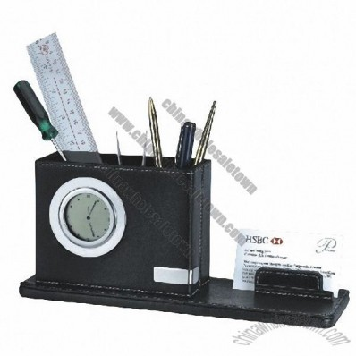 Leather Pen Holder With Memo Pad Holder And Clock