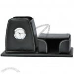 Leather Pen Holder with Clock and Memo Dispenser