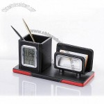 Leather Penholder with Calendar, Name Card & Mobile Phone Holder
