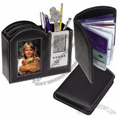 Leather Photo Frame Clock with Desk Organizer