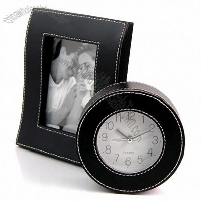 Leather Photo Frame and Leather Clock