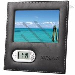 Leather Photo Frame with Alarm Clock