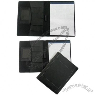 Leather Portfolios with Card Slots, Pen Loop and A4 Notepad, Finely Stitches