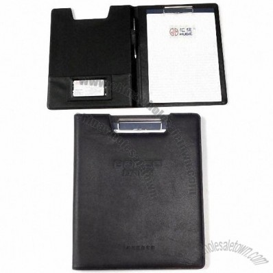 Leather Simple Imitation Portfolio with A4 Notes/Card/Pen Slots