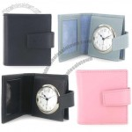 Leather Travel Alarm Clock and Photo Frame