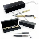 Leather Wrapper Ball Pen And Letter Opener Gift Set