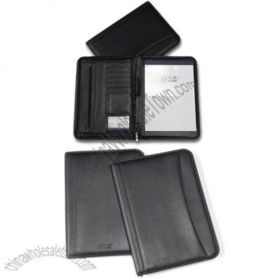 Leather Zippered Portfolio with A4 Notes/Document Pockets