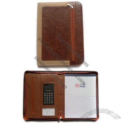 Leather and Oxford Cloth Portfolio with Electronic Calculator and Zipper Pockets