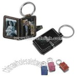 Leather photo frame key fob with metal split ring