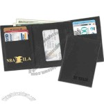 Leather tri-fold wallet holds credit cards photos and money