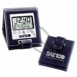 Leatherette LCD Travel Alarm Clock
