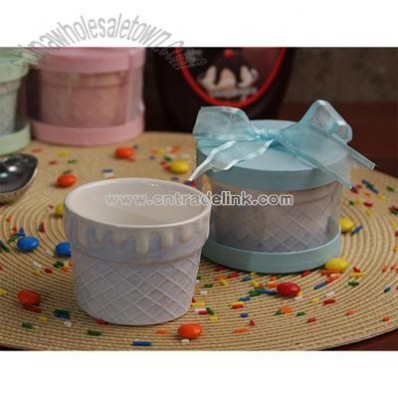 Light Blue Waffle Ice Cream Cup/Bowl
