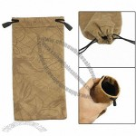 Light Brown Flannel Drawstring Closure Glasses Pouch Holder