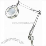 Light Magnifier Lamp with clamp in Polished Steel