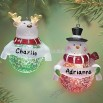Light Up Reindeer and Snowman Personalized Ornament