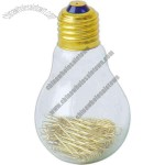 Light bulb shape paper clip holder with brass paper clips