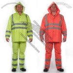 Lime/Orange 3 Piece Rain Suit w/ Silver Reflective Stripe