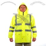 Lime Rain Jacket with detachable hood Class 3