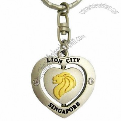 Lion City Heart Shaped Stainless Steel Keychain