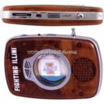 Liquid filled floater FM scan radio with alarm and flashlight