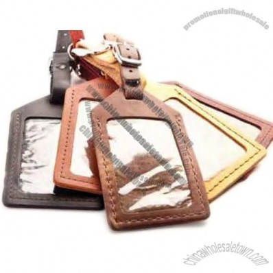 Logo Branded Leather Luggage Tag