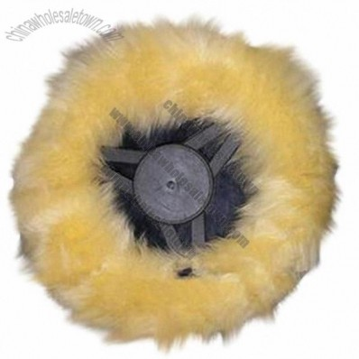 Long Hair Sheepskin Steering Wheel Cover in Yellow