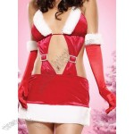 Long Satin Christmas Gloves Adult