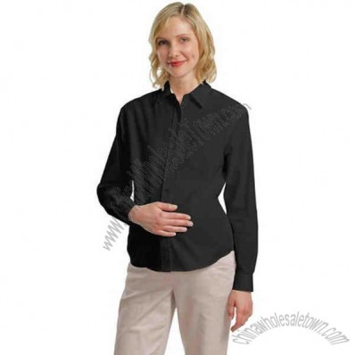 Long Sleeve Easy Care Maternity Shirt With Adjustable Back Tie