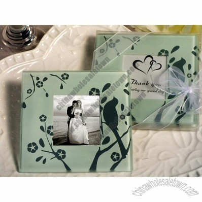 Lovebirds Wedding Favors Glass Coaster Set