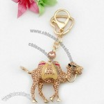 Lovely Camel Pattern Gold Plated Alloy Keychain With Enamel And Rhinestone