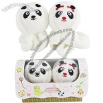 Lovely Couple of Roll-up Panda Design Decorative Cotton Towels Handkerchiefs