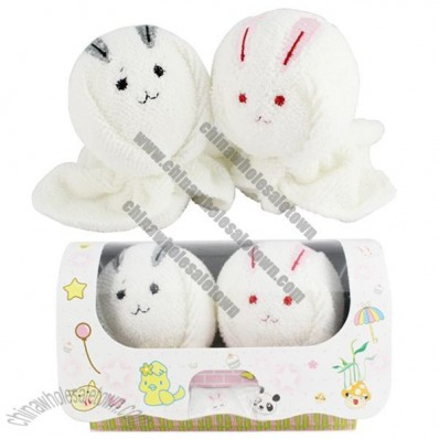 Lovely Couple of Roll-up Rabbit Design Decorative Cotton Towels Handkerchiefs