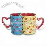 Lovers Mugs with Heart and C-Shaped Handle