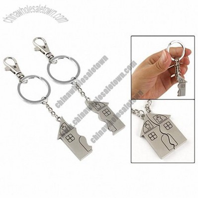 Lovers Spring Loaded Clasp Magnetic House Pendant Keyring Key Chain 2 Pcs
