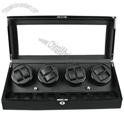 Luxury 6 + 7 Automatic Watch Black Watch Winder Storage Display Case Box
