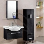 MDF Bathroom Vanity with Ceramic Basin, Mirror and Shelf
