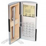 Magic Box World Time Clock Calendar with 8 Digit Calculator with Metal Pen