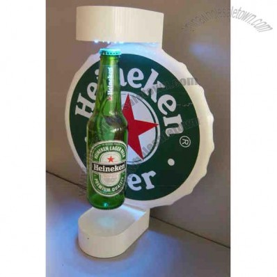 Magnetic Floating Bottle Display, Auto-revolving system, LED light
