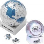Magnetic polished chrome 72 piece puzzle globe