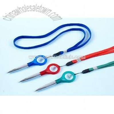 Magnifier pen with lanyard