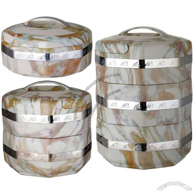 Marble Grain Houses Multi-storey Insulated Food Containers
