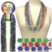 Mardi Gras dice beads necklace
